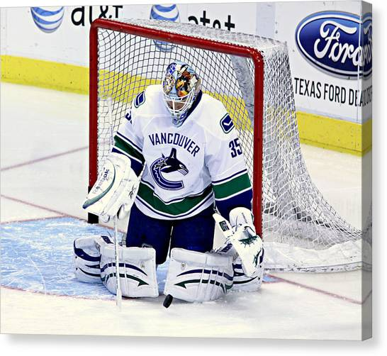 Vancouver Canucks Canvas Print - Goalie Save 2 by Stephen Stookey
