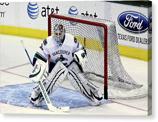 Vancouver Canucks Canvas Print - Goalie Save 3 by Stephen Stookey