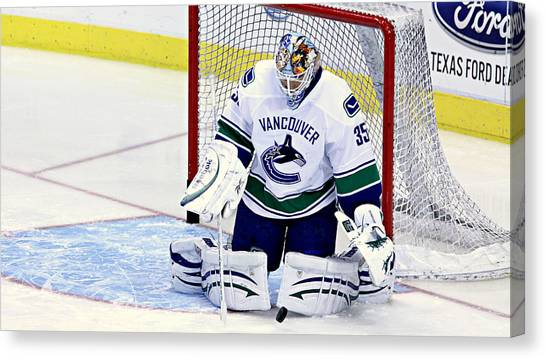 Vancouver Canucks Canvas Print - Goalie Save by Stephen Stookey