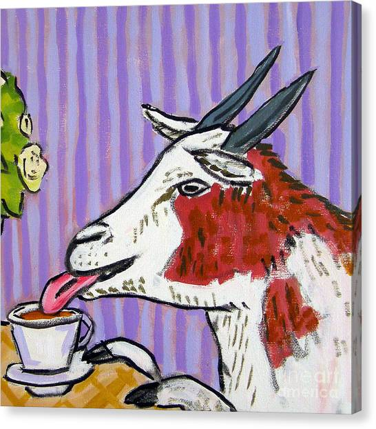 Goat At The Cafe Canvas Print by Jay  Schmetz