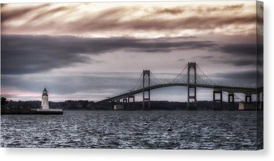 Goat Island Lighthouse And Newport Bridge Canvas Print