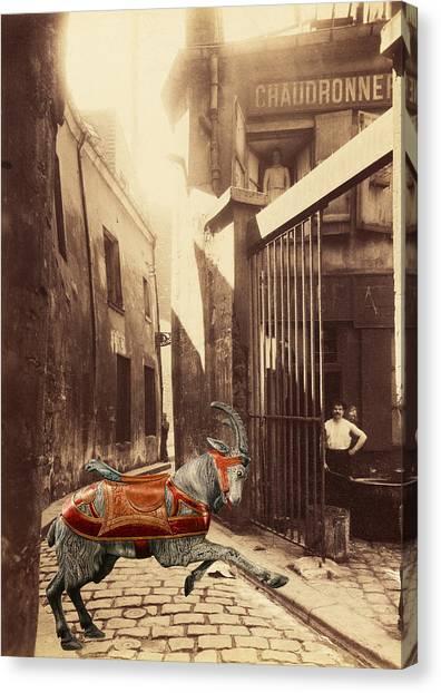 Goat On Passage De La Reunion Paris Collage Canvas Print