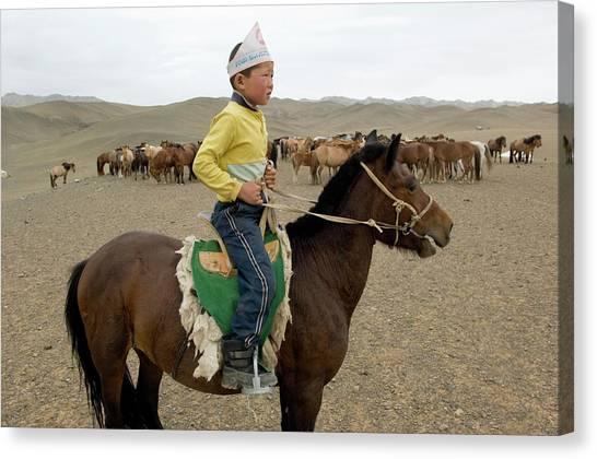 Gobi Desert Canvas Print - Gobi Boy On Horseback by Ted Wood