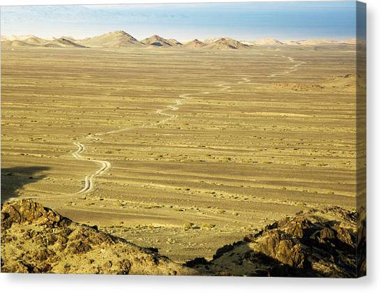 Gobi Desert Canvas Print - Gobi Desertscape With Road by Ted Wood