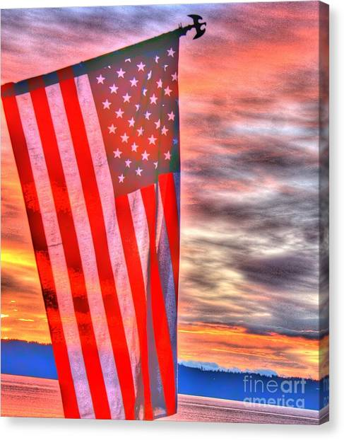 God Bless America Over Puget Sound Canvas Print