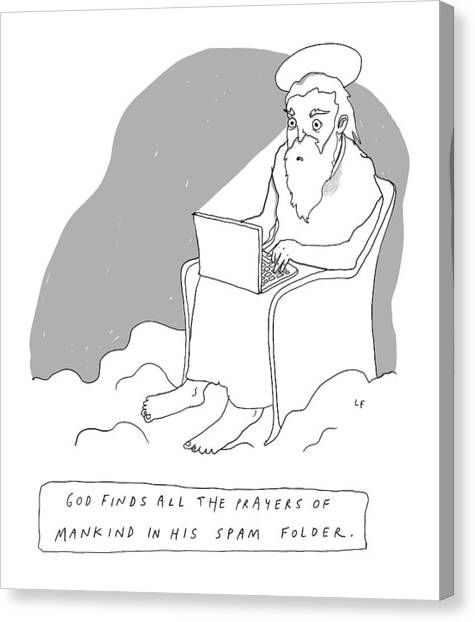 God Canvas Print - God Sits In A Throne In Heaven by Liana Finck