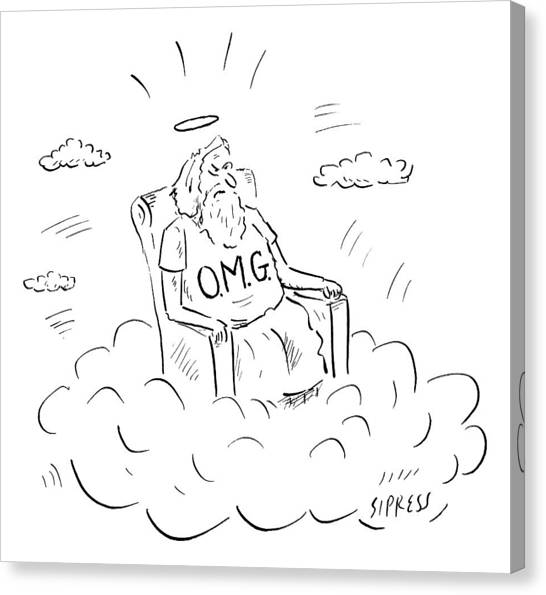 God Canvas Print - God Sits On A Throne Wearing A Shirt Reading by David Sipress