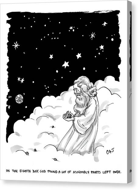 Earth Canvas Print - God Stands In A Cloud Formation In Space by Carolita Johnson