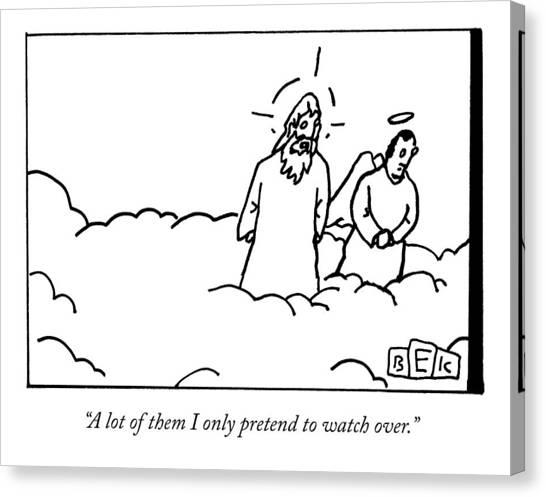 God Canvas Print - God Talks To An Angel by Bruce Eric Kaplan