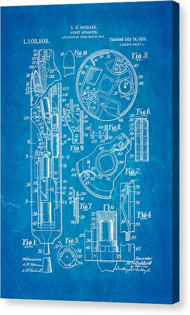 Nra Canvas Print - Goddard Rocket Patent Art 1914 Blueprint by Ian Monk