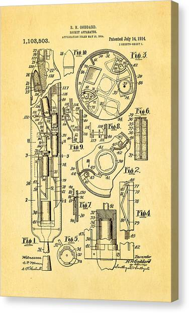 Nra Canvas Print - Goddard Rocket Patent Art 1914 by Ian Monk