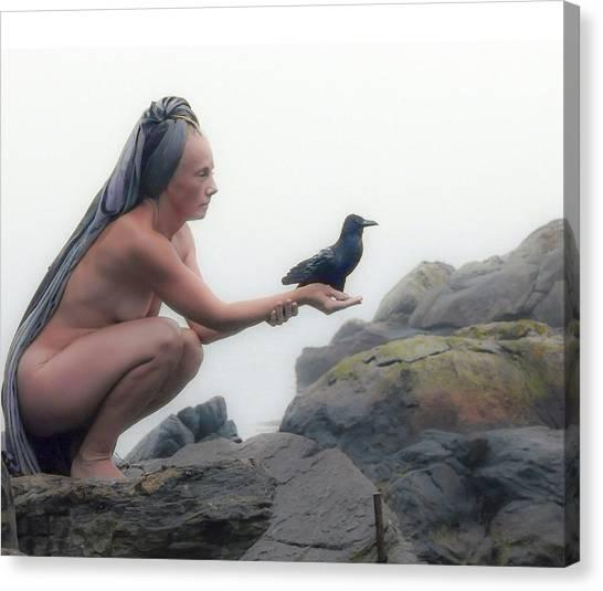 Goddess With Raven Canvas Print
