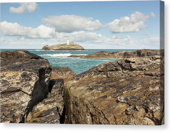 St Ives Canvas Print - Godrevy Lighthouse In Cornwall, England by Nick Cable