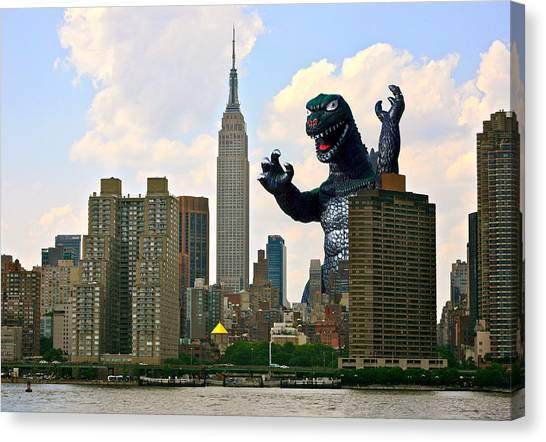 Godzilla And The Empire State Building Canvas Print by William Patrick