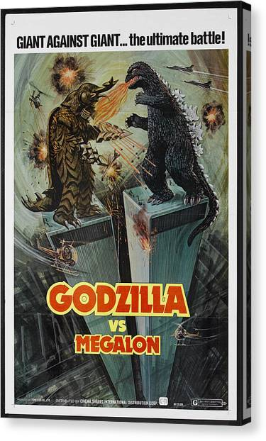 Launch Canvas Print - Godzilla Vs Megalon Poster by Gianfranco Weiss