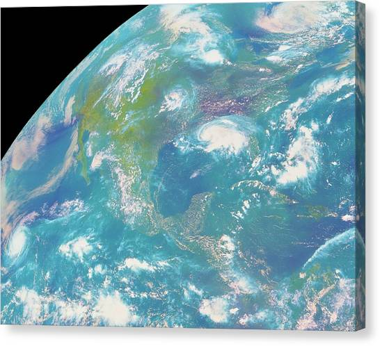 Goes Image Of North & Central America Canvas Print by Nasa/science Photo Library