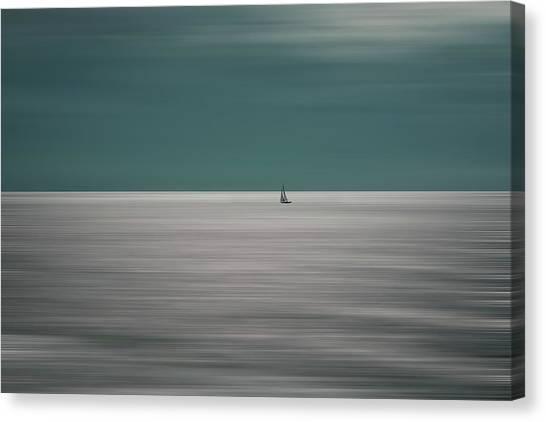 Sailboat Canvas Print - Going For The Horizon by Bernardine De Laat