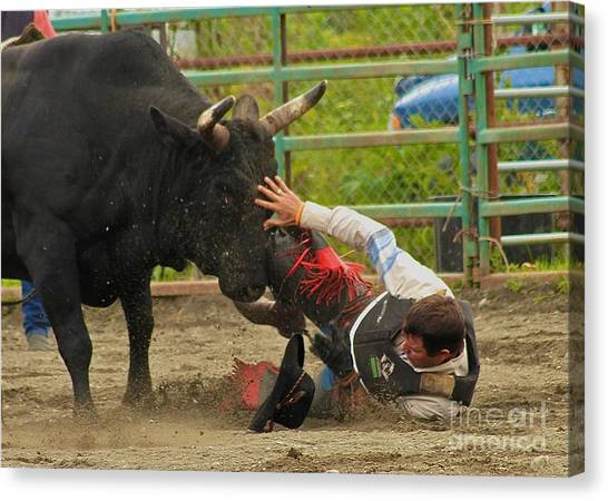 Bull Riding Canvas Print - Going To Hurt by Rick  Monyahan