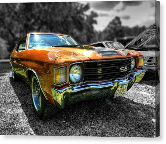 Stock Cars Canvas Print - Gold '72 Chevelle Ss 001 by Lance Vaughn