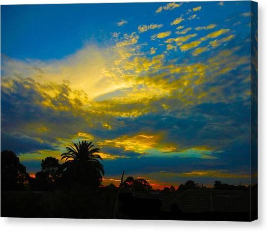 Gold And Blue Sunset Canvas Print