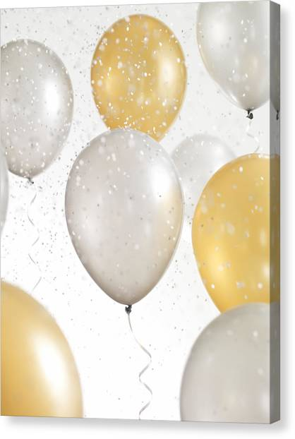 Gold And Silver Balloons With Confetti Canvas Print by Lauren Nicole