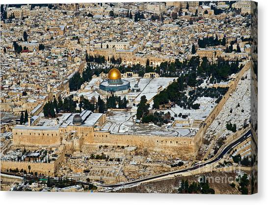 Gold And White In Jerusalem. Canvas Print