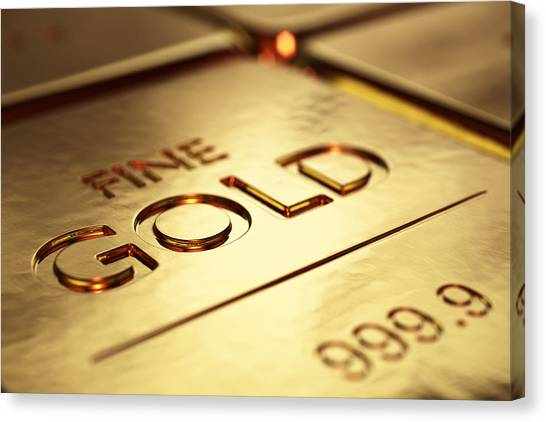 Bar Canvas Print - Gold Bars Close-up by Johan Swanepoel