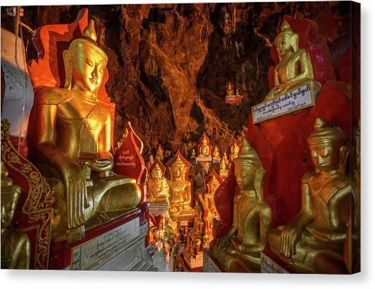 Limestone Caves Canvas Print - Gold Buddha Statues, Pindaya Cave by Steele Burrow