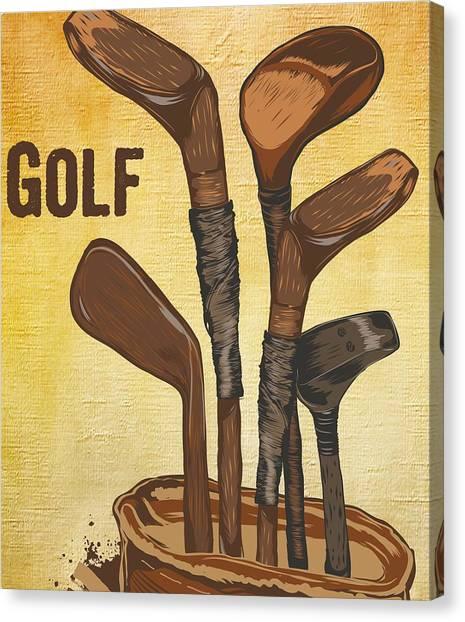 Fun Run Canvas Print - Gold Clubs by Nikola Simonovikj