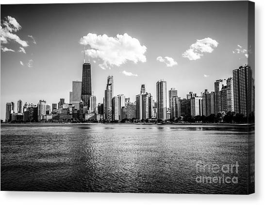 Hancock Building Canvas Print - Gold Coast Skyline In Chicago Black And White Picture by Paul Velgos