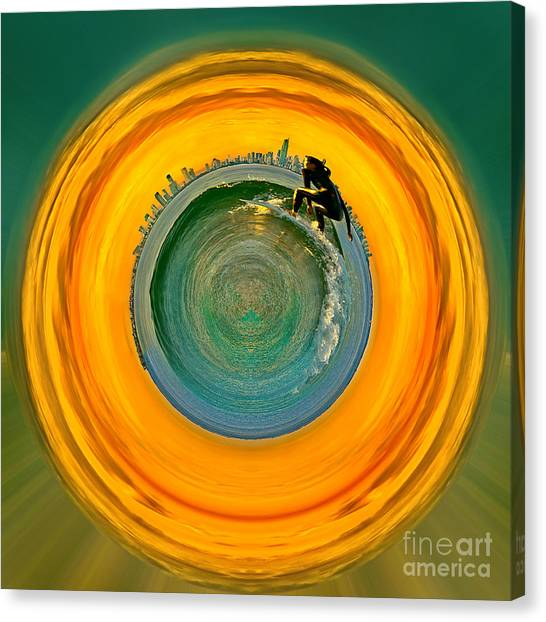 Circle Canvas Print - Gold Coast Surfer Circagraph by Az Jackson