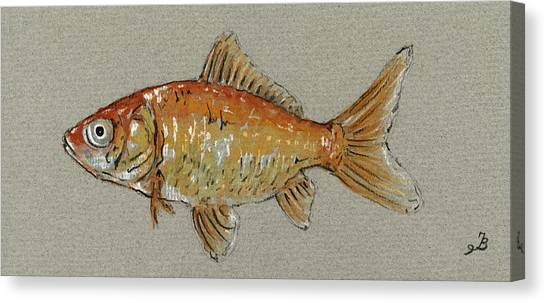 Gold Canvas Print - Gold Fish by Juan  Bosco