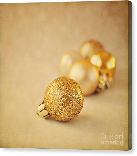 Gold Glittery Christmas Baubles Canvas Print