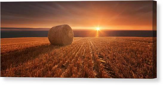 Hay Bales Canvas Print - Gold Harvest by Marcin Krakowski