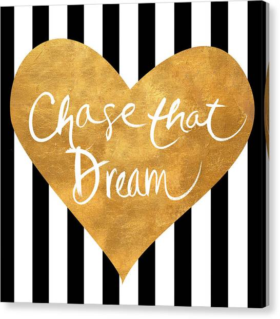 Office Canvas Print - Gold Heart On Stripes II by South Social Graphics