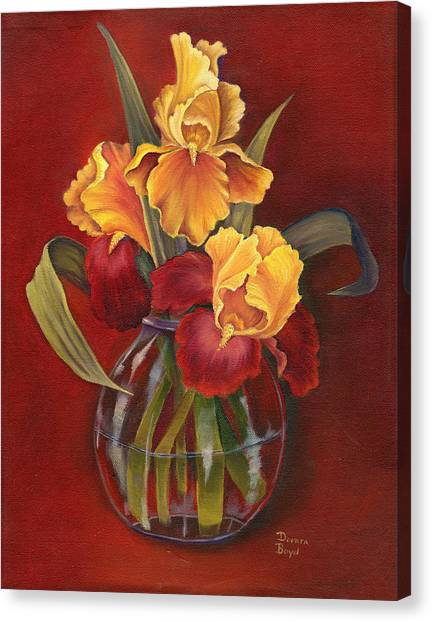 Gold N Red Iris Canvas Print