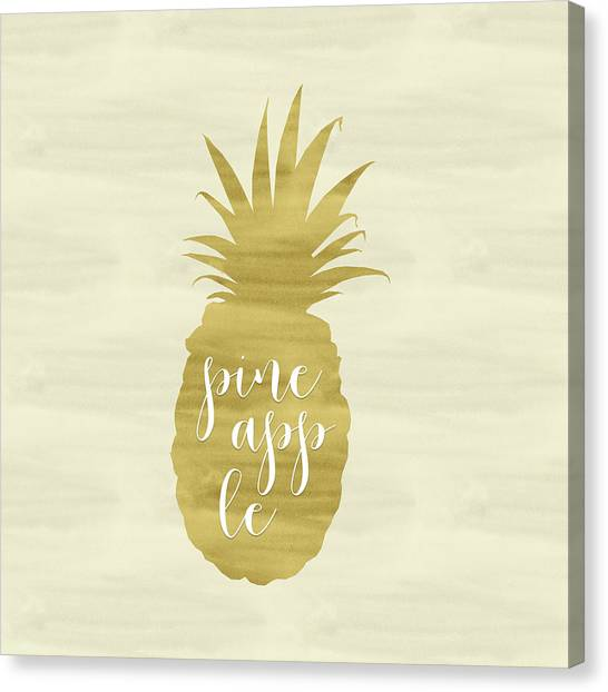 Pineapples Canvas Print - Gold Pineapple Square by Tara Moss
