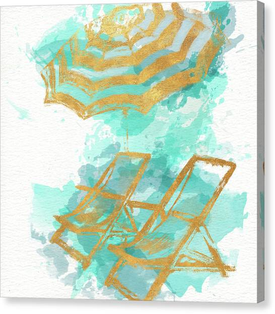 Gold Canvas Print - Gold Shore Poster by Patricia Pinto