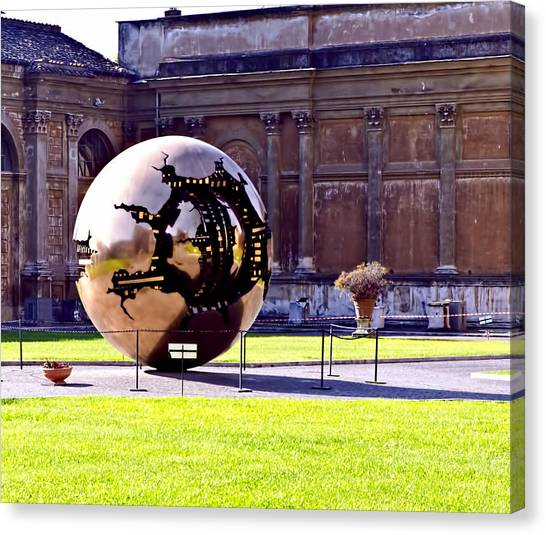 The Vatican Museum Canvas Print - Gold Sphere - Vatican Museum by Jon Berghoff