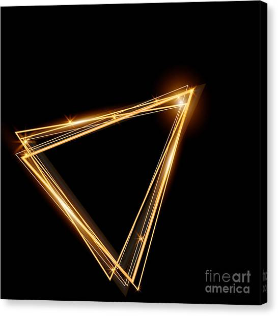 Bright Canvas Print - Gold Triangle Glowing Frame. Abstract by Ttp999