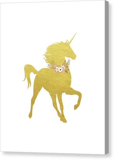 Unicorns Canvas Print - Gold Unicorn by Tara Moss