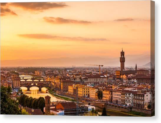 Golden Arno River Canvas Print