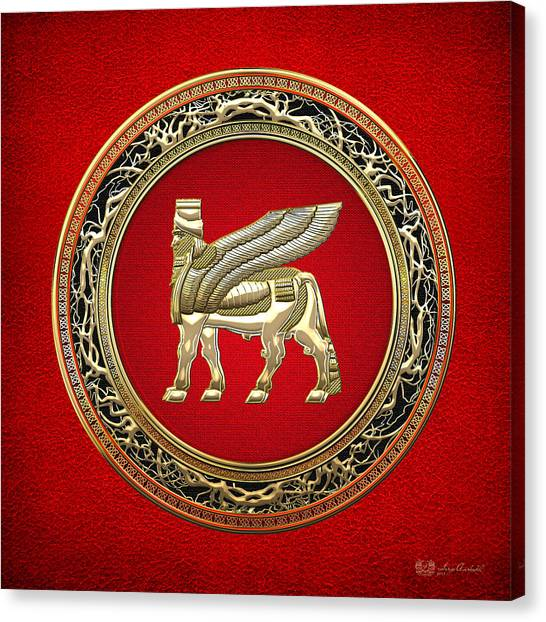 Golden Babylonian Winged Bull  Canvas Print