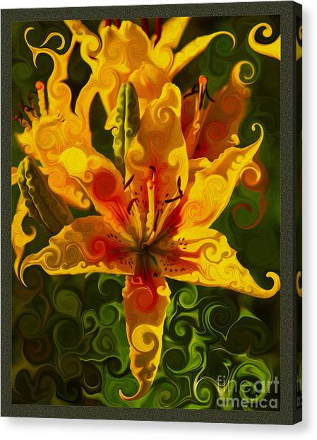 Canvas Print featuring the painting Golden Beauties by Omaste Witkowski