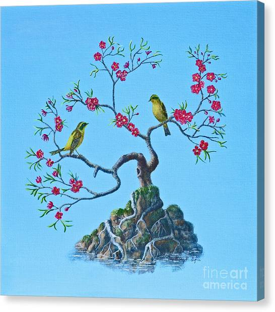 Golden Bush Robins In Old Plum Tree Canvas Print