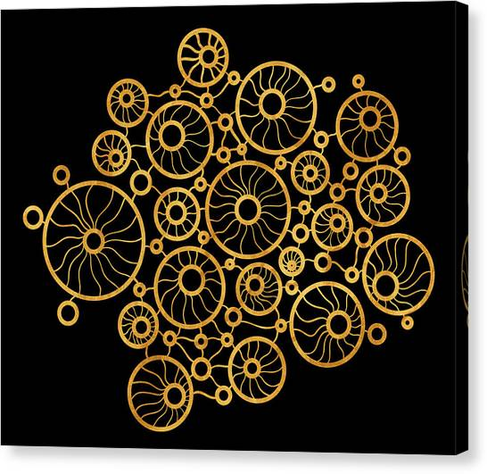Abstract Art Canvas Print - Golden Circles Black by Frank Tschakert