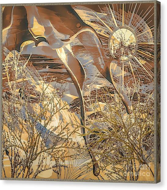 Canvas Print featuring the digital art Golden Dream by Eleni Mac Synodinos