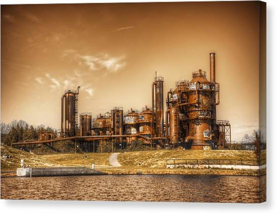 Golden Gas Works Canvas Print