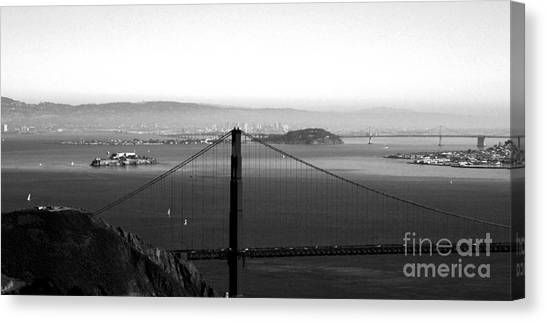 Golden Gate Canvas Print - Golden Gate And Bay Bridges by Linda Woods