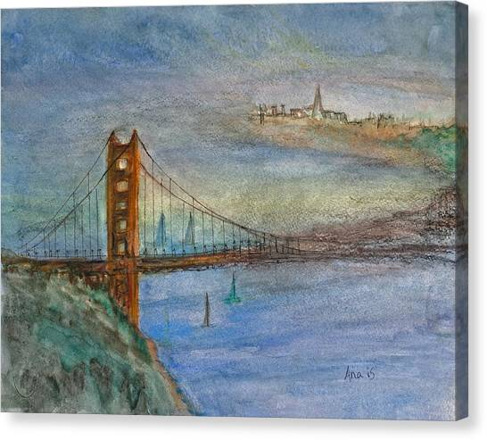 Golden Gate Bridge And Sailing Canvas Print by Anais DelaVega